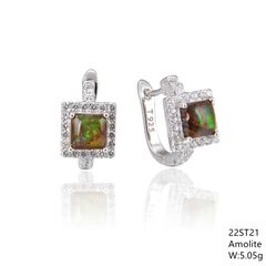 Ammolite,Silver Franch back Earrings , 22ST21