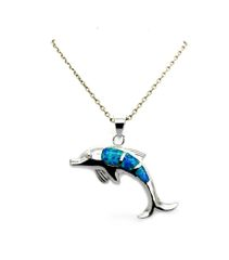 925 STERLING SILVER LAB BLUE OPAL DOLPHIN PENDANT, 33101-K5