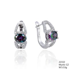 Mystic Rainbow CZ Silver Earrings,22332,French Back Earrings