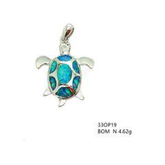 33op19 Sterling Silver Opal Turtle Pendant
