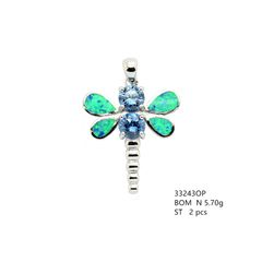 925 Silver ,DragonFly, with Amethyst cz , Inlaid Lab Opal Pendant, 33243