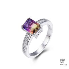 Ametrine Emerald Cut CZ Ring , 11364