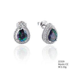 Mystic Rainbow CZ Silver Earrings ,22329,Drop Shape CZ Stud