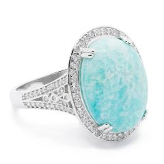 11ST25 GEM STONE AMAZONITE RING,925 SILVER