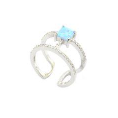 925 SILVER LAB BLUE OPAL ADJUSTABLE BAR RING.11CZ100-K6