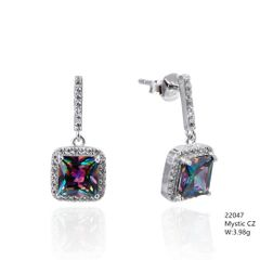 Mystic Rainbow CZ Silver Earrings ,22047