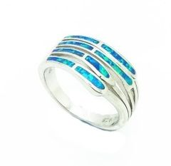 11OP14 STERLING SILVER INLAID OPAL RING