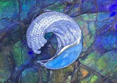 WAVE LARIMAR STERLING SILVER PENDANT ,33290LA