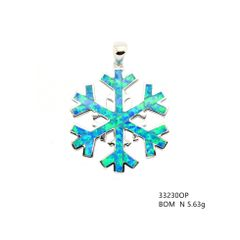 Silver Snow falk inlaid lab created Opal pendant