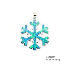 Silver Snow falk inlaid lab created Opal pendant