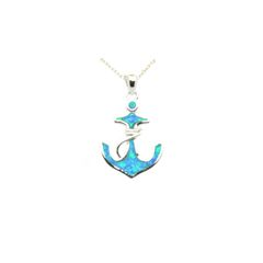 925 SILVER INLAID OPAL ANCHOR PENDANT,33159-K5