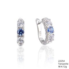 TANZANITE FRANCH BACK SILVER EARRINGS - 22254TN