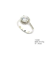 11cz81 Sterling Silver Halo cz rings