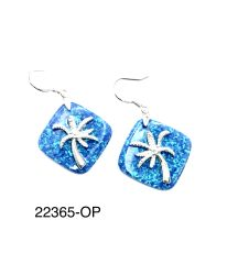925 SILVER BEAUTIFUL LAB OPAL SURFACE PALMTREE EARRINGS ,22365-OP