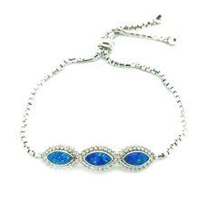 925 SILVER LAB BLUE OPAL OVAL SHAPE ADJUSTABLE BRACELET#66CZ23-OP