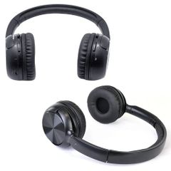 Audio - Ultra Slim Bluetooth Wireless Rechargeable Stereo Headphones w/Microphone (Black)