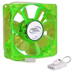 Fan - Case Fan w3 & 4-Pin Connector (Green wBlue LEDs) 3 x 3 (80mm) UV Reactive