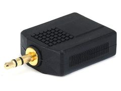 Adapter - 3.5mm Stereo Plug to 2 x 6.35mm (1/4 Inch) Stereo Jack Splitter Adaptor - Gold Plated