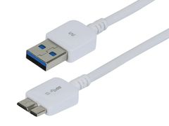 Cable - Ultra Slim Series USB 3.0 Cable, A Male to Micro B Male, 1 Ft White
