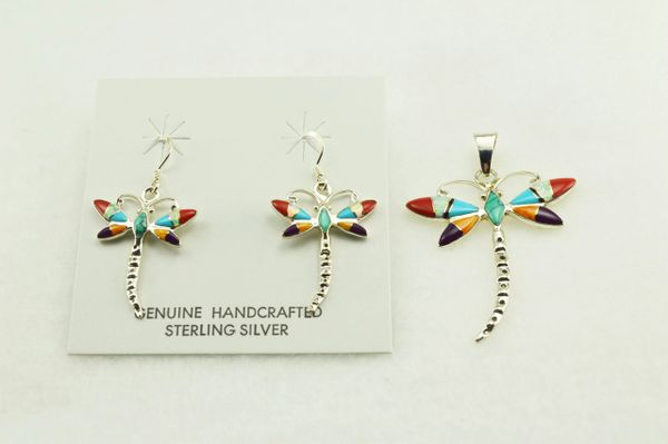 Sterling silver multi color inlay dragonfly earrings and pendant set. S126