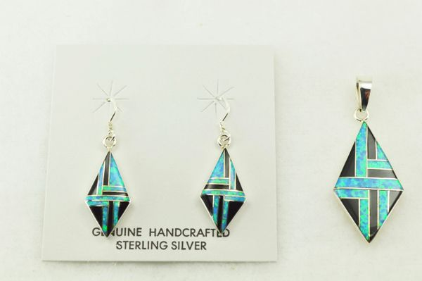 Sterling silver black onyx and blue opal inlay diamond earrings and pendant set. S223