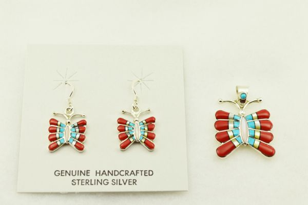 Sterling silver multi color inlay butterfly earrings and pendant set. S323
