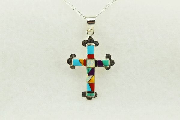"Sterling silver multi color inlay cross pendant with sterling silver 18"" figaro chain. N176"