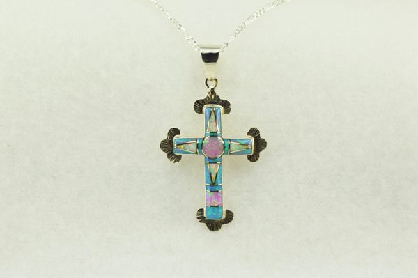"""Sterling silver white, pink and blue opal inlay cross pendant with sterling silver 18"""" figaro chain. N178"""