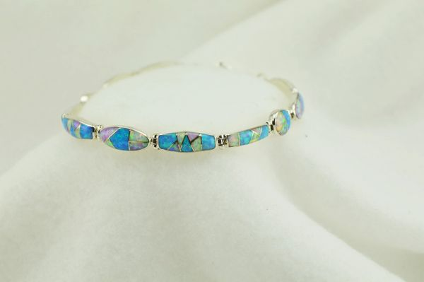 "Sterling silver white, pink and blue opal inlay link 7.5"" bracelet. B078"
