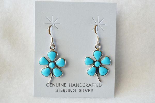 Sterling silver turquoise pedal flower dangle earrings. (E046)
