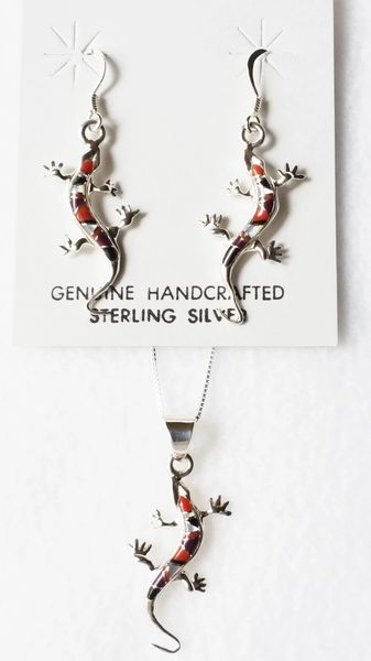 """Sterling silver mother of pearl, black onyx, tiger eye and coral inlay lizard dangle earrings and 18"""" sterling silver box chain necklace set. S011"""