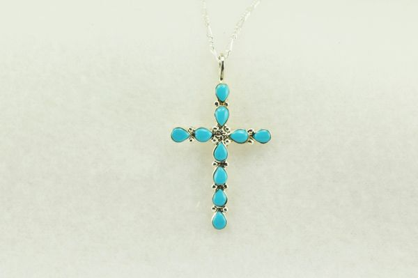 "Sterling silver turquoise cross pendant with sterling silver 18"" figaro chain. N192"