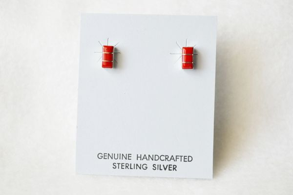 Sterling silver coral inlay rectangle post earrings. E155