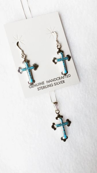 """Sterling silver turquoise inlay cross with tip dangle earrings and 18"""" sterling silver box chain necklace set. S085"""