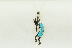"Sterling silver turquoise inlay kokopelli pendant with sterling silver 18"" figaro chain. N201"