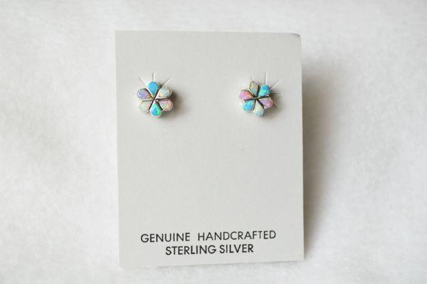 Sterling silver multi colored opal flower post earrings (E017)