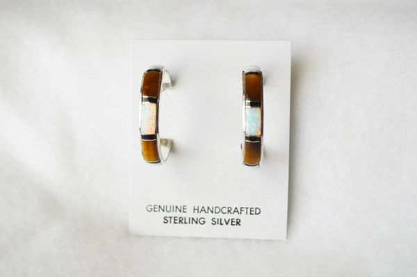 Sterling silver white opal, tiger eye and black onyx inlay large hoop post earrings. E309