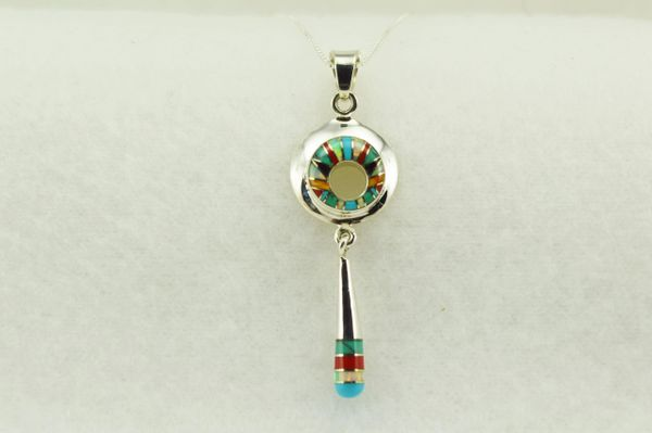 """Sterling silver multi color inlay hoop with drop down pendant with sterling silver 18"""" box chain. N267"""