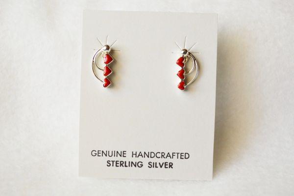 Sterling silver coral triple heart post earrings. E153