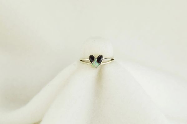 Sterling silver black onyx and white opal inlay ring. R082