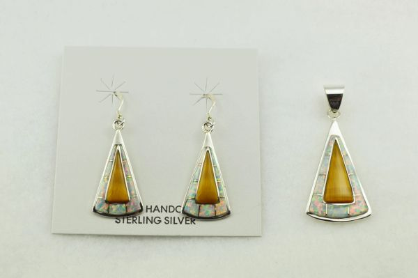 Sterling silver white opal and tiger eye inlay candy corn shaped earrings and pendant set. S229