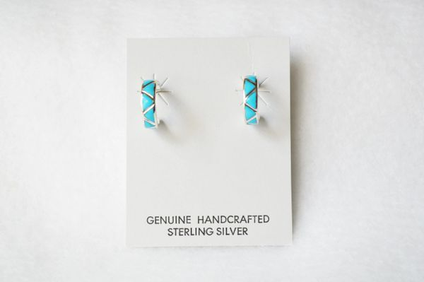 Sterling silver turquoise inlay small hoop post earrings. E296