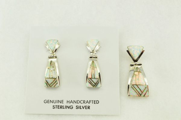Sterling silver white opal inlay candy corn shaped earrings and pendant set. S185