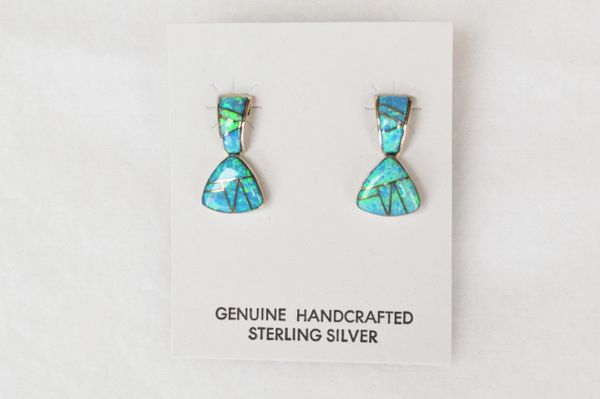 Sterling silver inlay blue opal post earrings. E103