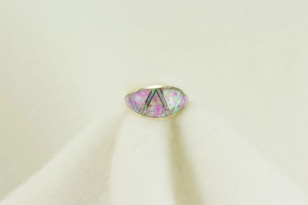 Sterling silver pink opal inlay ring. R095