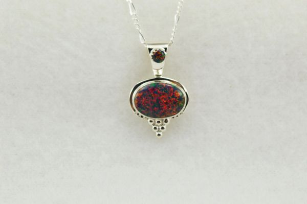 "Sterling silver black opal oval pendant with sterling silver 18"" figaro chain. N231"