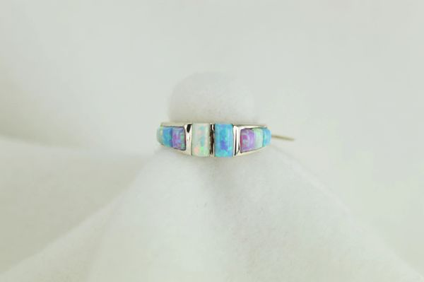 Sterling silver blue opal, pink opal and white opal inlay ring. R018