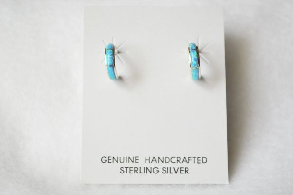 Sterling silver blue opal inlay small hoop post earrings. E266