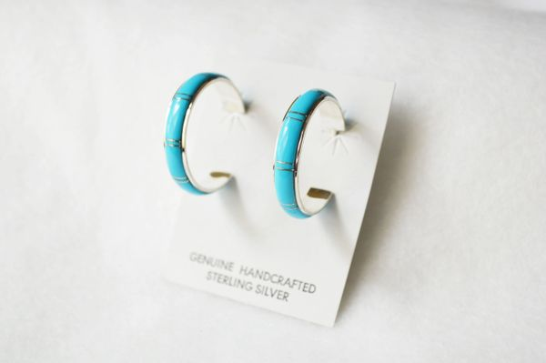 Sterling silver turquoise inlay large/wide hoop post earrings. E292