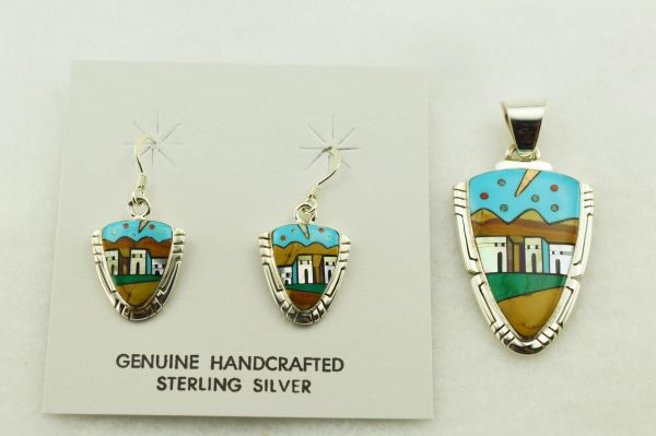 Sterling silver multi color inlay arrowhead shaped adobe style earrings and pendant set. S282